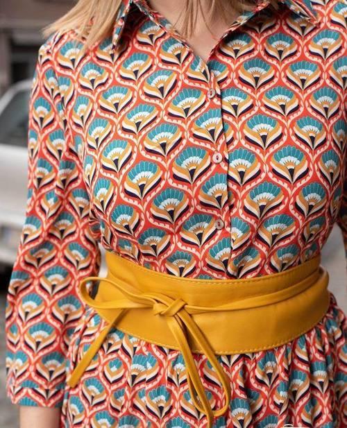 robe chemise retro orange