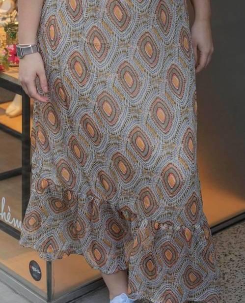 jupe à motifs gris corail moutarde it hippie