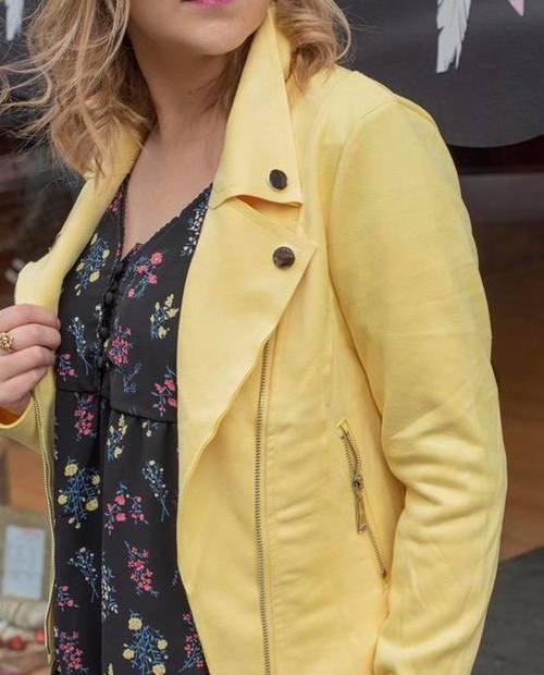 perfecto suedine court jaune
