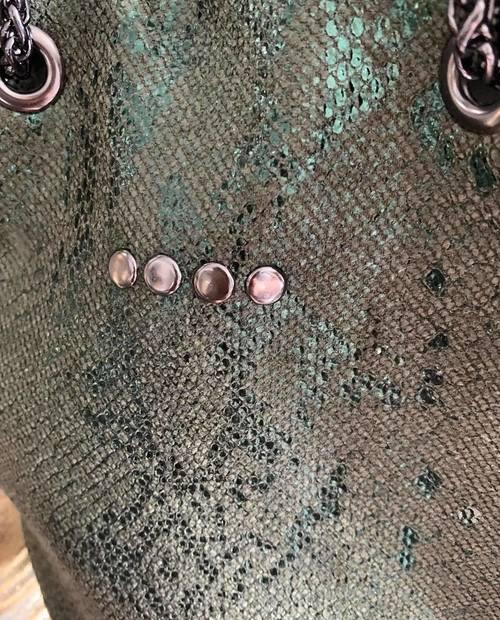 sac bourse cuir kaki effet python