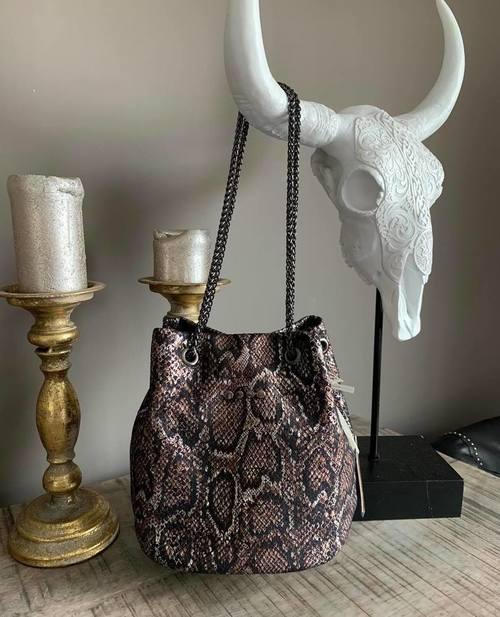 sac bourse cuir noir/marron effet python