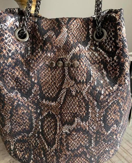sac bourse cuir noir/gris/rouille effet python
