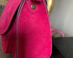 sac cuir rose fuchsia