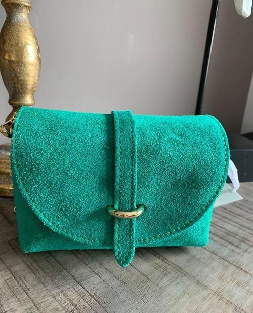 petit sac en cuir turquoise