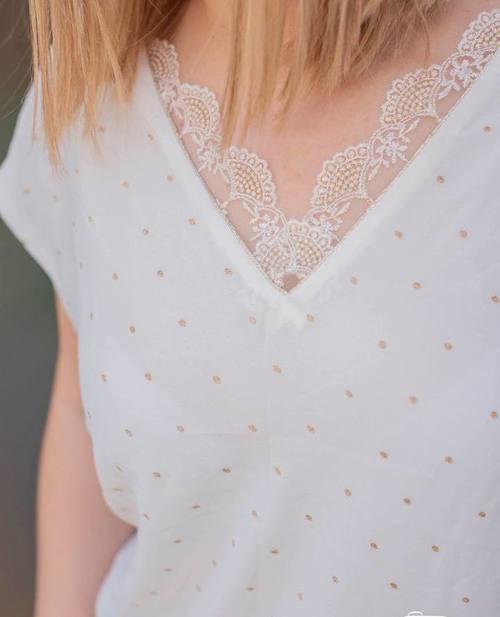 blouse petits pois dorés