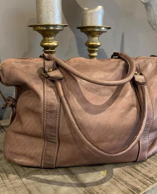 sac vieux rose cuir vintage