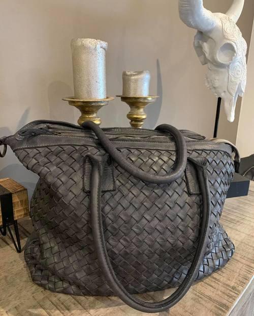 sac cuir gris anthracite