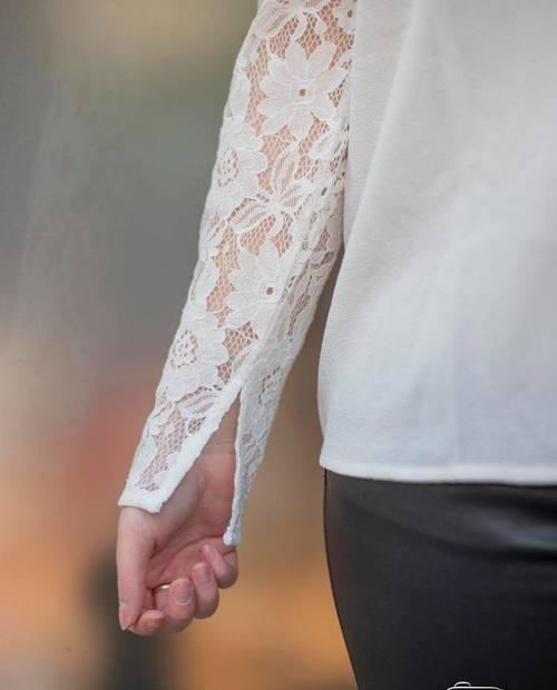 blouse manches dentelle