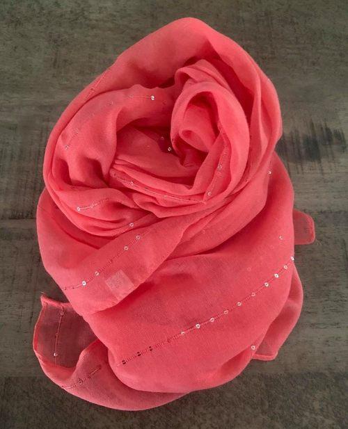 foulard sequins corail