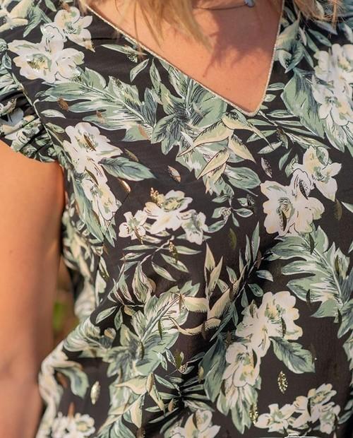 blouse florale green