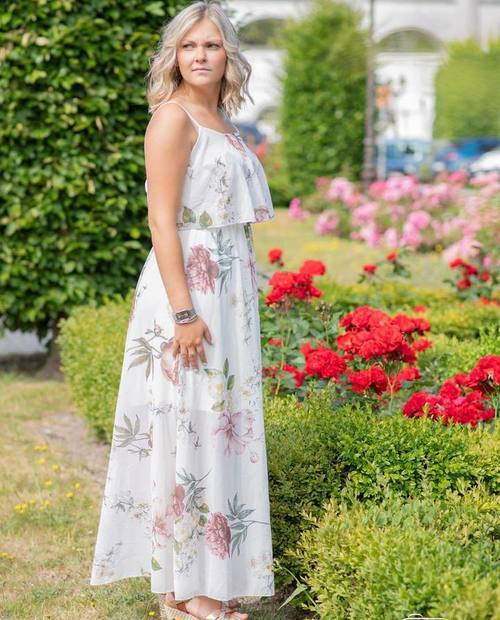 robe longue voile roses